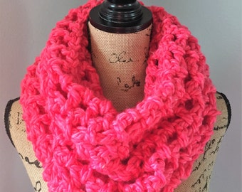 Super soft chunky cowl in bright pink