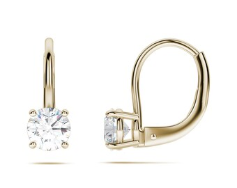 1.60 CT Brilliant Round Cut Drop Dangle Leverback Earrings 14K Yellow Gold Summer Jewelry Gift