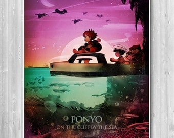Ponyo anime poster, Studio Ghibli, illustration, Japanese art print, minimalist movie, Home decor, Office room