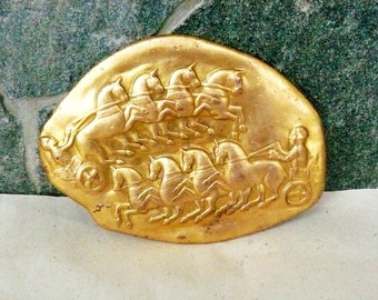 """Collectibles Antique Art  Brass a Fragment of a gold jug - """"Thracian chariots"""". Collector's! Brass Plaque"""