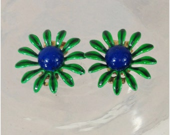 Small single flower gold tone earrings in green and blue