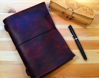 Brown Leather A5 Midori - Style Moleskine Cahier Cover 13 x 21 Traveller's Notebook or Album also Made To Order in Any Colour
