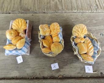 dollhouse miniature basket of breads 1/12 scale handmade