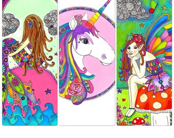Set of 3 Mythical Creature A4 Prints/Unicorn/Fairy/Mermaid