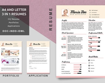 a4letter resume templates modern resume cv template application portfolio resume job resume creative resume modern resume