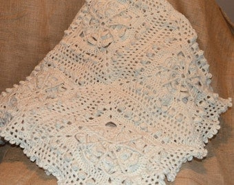 Crochet afghan, lap throw blanket, beige blanket, farmhouse decor, cabin decor