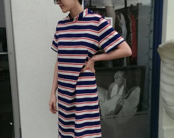 Vintage 1960s, London-look, twiggy style red, white and blue striped mini, FREE SHIPPING WORLDWIDE!