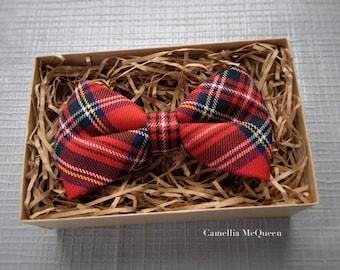 Men's bow tie, boys' bow tie, royal stewart tartan bow tie