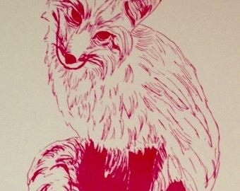 Fox screenprint