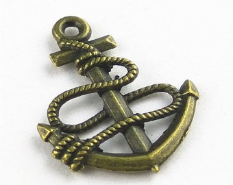 10pcs 20x25mm Anchor Charm Pendant Accessories Findings A