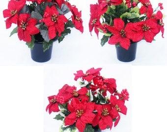 Artificial Flowers Velvet Poinsettia Holly Cemetery Pot