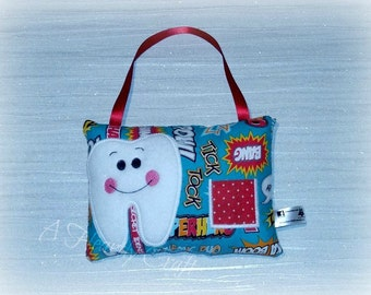 Personalised Tooth Fairy Pillow with a little pocket to hold your Childs Tooth - Fabric - CE - Handmade - Decoration