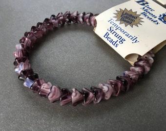 Purple Czech Glass Flower Beads Dark Blue 8 x 6mm Destash 41 Beads Pressed Glass, Bell Flower Beads