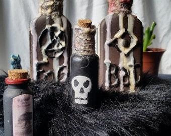 Set of 4: Dark Magic Potion Bottle Costume/Cosplay/Halloween Props