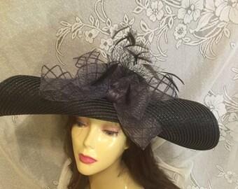 Kentucky Derby black hat. wedding hat, black garden party hat, Royal Ascot hat, summer wedding hat, Melborne Hat