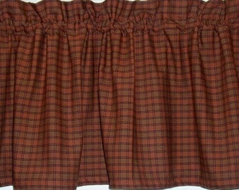 burnt orange rusty pumpkin plaid homespun valances tiers runners country curtains kitchen home cabin valances free
