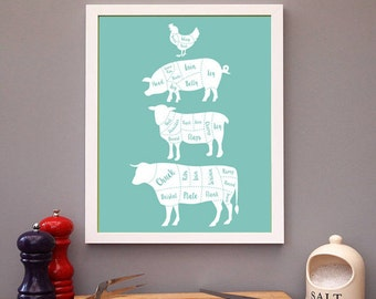 4 Butcher Diagram Series print, Cow, Pig, Chicken, lamb print Kitchen Decor Art Print Set, Kitchen Decal, Kitchen poster, Gift, Present