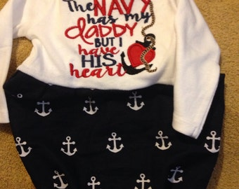 CLEARANCE - Nautical Navy Anchor Baby Gown - Infant Sizes 0-3 and 3-6 months