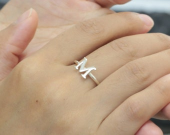 Sterling Single Letter Ring, Thin Band, Custom 1 Initial Ring, Personalized Simple Ring, Bridesmaid Jewelry, Christmas gift