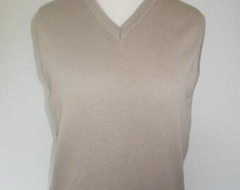 SALE 25% OFF Vintage mens vest Gabicci taupe v neck pullover tank top size medium