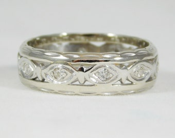 14k White Gold Ring Featuring the Ancient Eye Design with Diamond Pupils