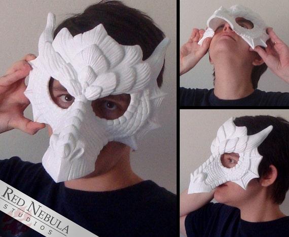 Dragon Mask Blank, Fantasy Half Masque, Dragon Masquerade Mask, Resin Half Mask, Stylized Dragon Face Mask, DIY Blank Mask, Ren Faire Mask