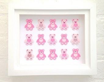 Teddy bear 3D wall art ~ Pink teddy bear ~ new baby girl gift ~ Unique baby gift ~ nursery wall art ~ baby girl nursery ~ framed art