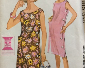 McCall's 6656 misses muu muu with side buttons size small or medium vintage 1960's sewing pattern  Uncut  factory folds