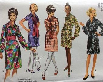 Simplicity 9219 vintage 1970's misses dress & sash sewing pattern size 18 bust 40   Uncut  Factory folds