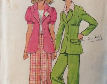 Simplicity 5642 vintage 1970's misses jacket and pants sewing pattern size 12 bust 34 waist 26.5