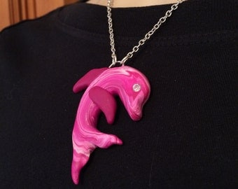 hot pink Dolphin pendant necklace