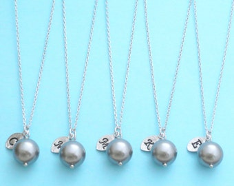 Set of 5-10, Personalized, Letter, Initial, Gray, Charcoal, 10mm, Pearl, Gold, Silver, Necklace, Sets, Wedding, Bridesmaid, Bride, Gift