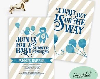 Balloon Baby Shower Invitation - Baby Shower Invitation, Invites, Dreamy, Whimsical, bear, balloon, watercolor