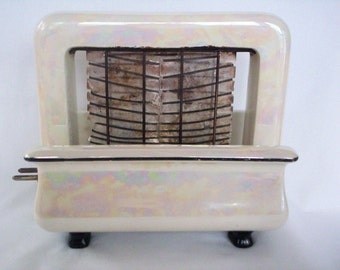 Vintage Toastrite Toaster, Mother of Pearl Ceramic, Rare, No Cord