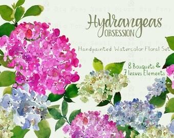 Digital Clipart- Watercolor Flower Clipart, Hydrangeas Clip art, Floral Bouquet Clipart, wedding flowers clip art- Hydrangeas Obsession