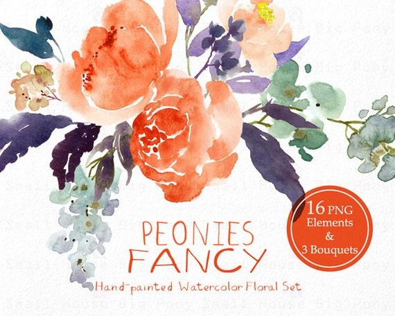 Digital Clipart- Watercolor Flower Clipart, peonies Clip art, Floral Bouquet Clipart, wedding flowers clip art- Peonies Fancy