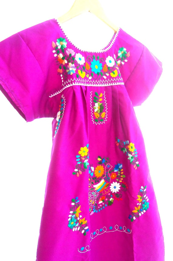 Handmade mexican embroidered peacock baby dress by pathy