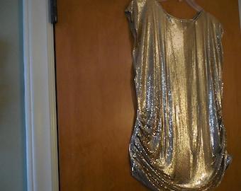 Vintage Whiting & Davis Metal Mesh Gold Top - Sleeveless Blouse