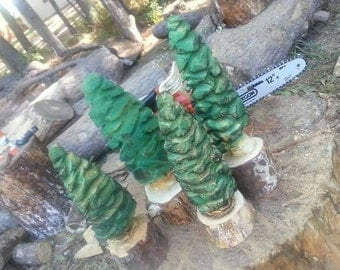 Chainsaw Carved Pine Christmas Trees