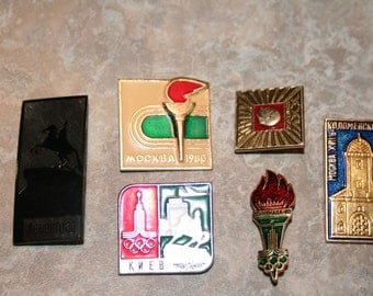 Vintage Olympic Pins (6 pieces)