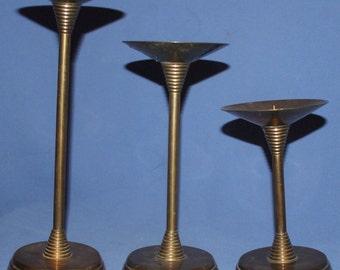 Vintage Set 3 Brass Candlesticks Candle Holders