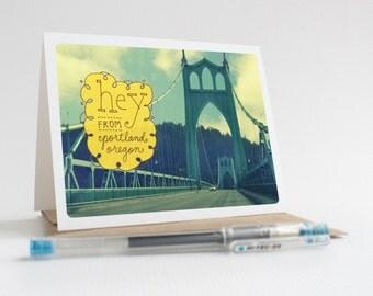 Hey From Portland / St. Johns Bridge - Greeting Card