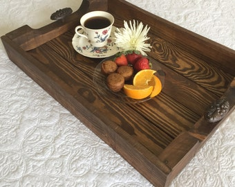 Wood Ottoman Tray-Handcrafted from reclaimed wood-Rustic Home Decor, Farmhouse Decor