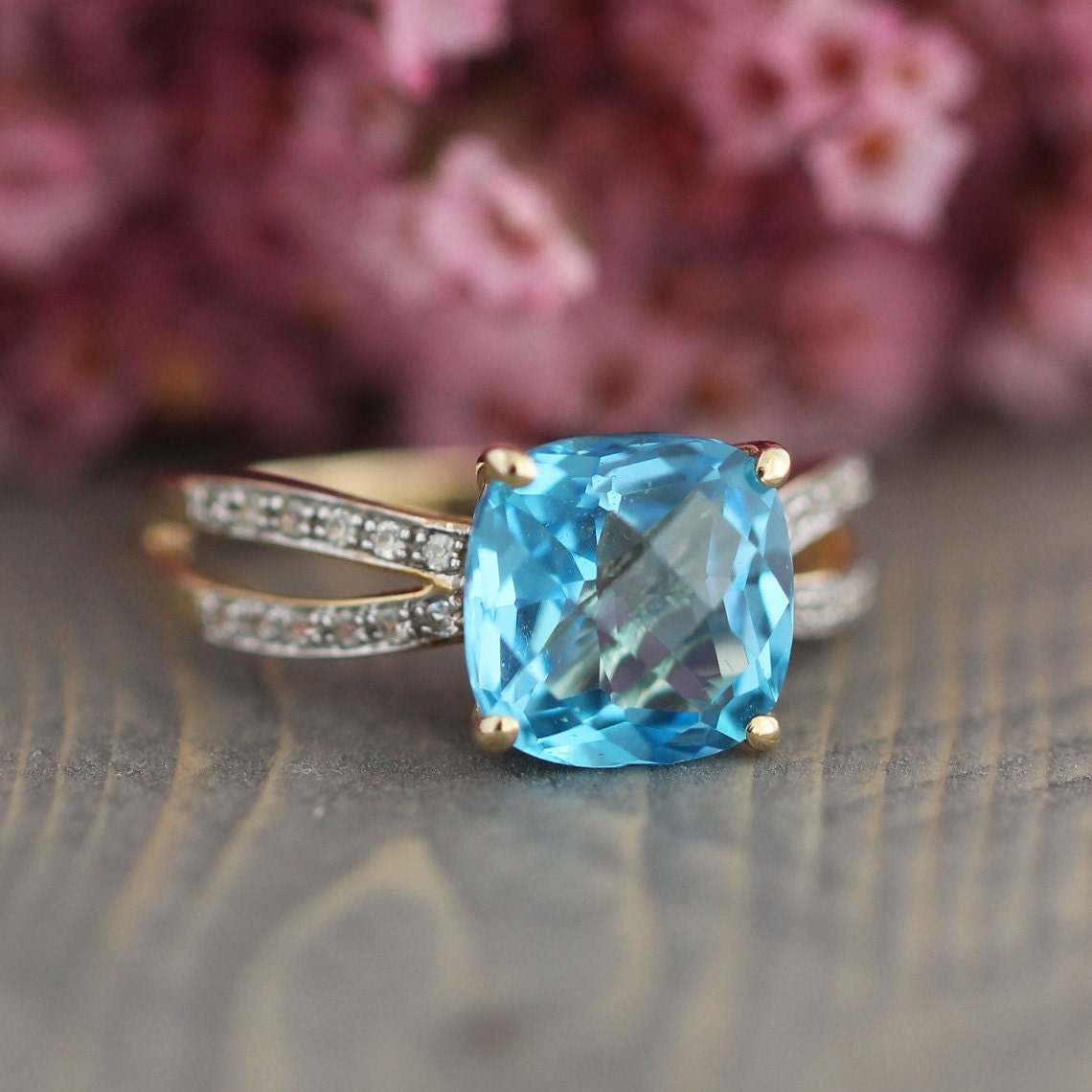Cushion Swiss Blue Topaz Engagement Ring In 10k Yellow Gold