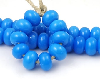 Lauscha Turquoise Blue Made to Order SRA Lampwork Handmade Artisan Glass Spacer Beads Set of 10 5x9mm