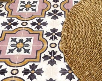 Tile Decals - Tiles for Kitchen/Bathroom Back splash - Floor decals - Italian Hand Painted Syracuse Vinyl Tile Sticker Pack in Black & Rose