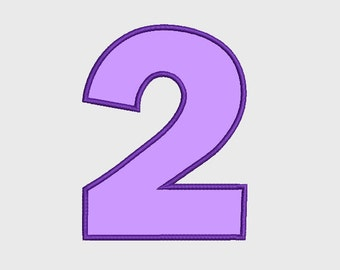 Number 2 Applique Embroidery Design INSTANT DOWNLOAD 4x4
