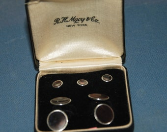 Genuine Vintage ca 1950s Mother of Pearl Formal Tuxedo Cufflinks and Studs Set -- Free Shipping!