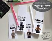 Valentine's Day Star Wars Lego Force Awakens Glow Stick Light Saber Valentines, Digital File, Instant Download