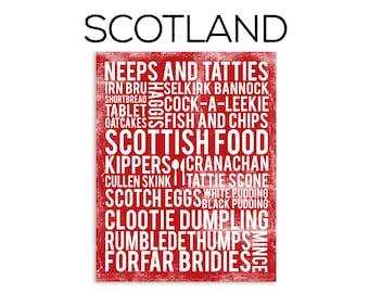 Scotland Food Subway Art Print - Scotland Food Poster - Various Sizes & Colors